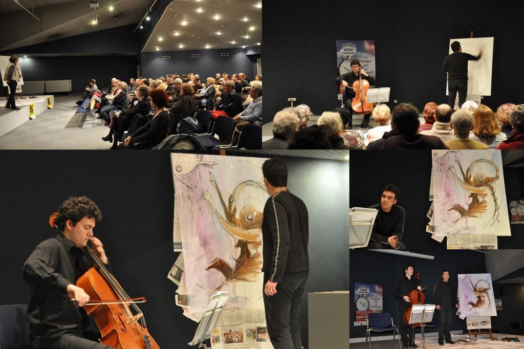 Performance artistique entre Archer et Pinceau